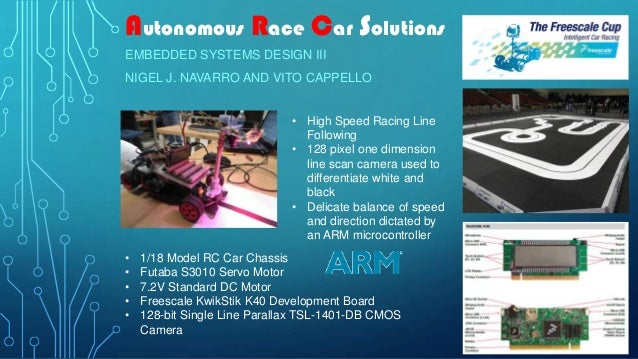 Autonomous Race Car SolutionsEMBEDDED SYSTEMS DESIGN IIINIGEL J. NAVARRO AND VITO CAPPELLO• 1/18 Model RC Car Chassis• Fut...