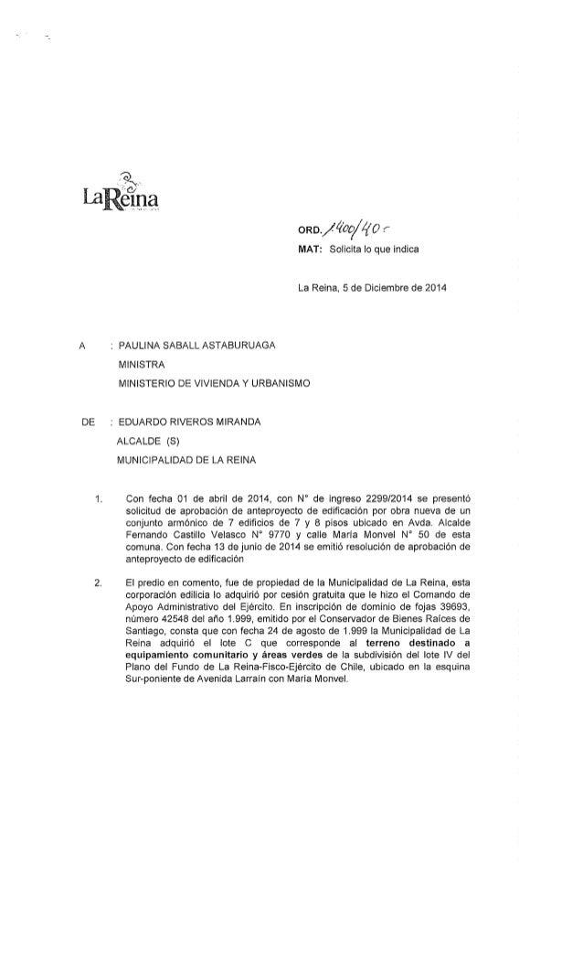 Carta enviada a Ministra de Vivienda