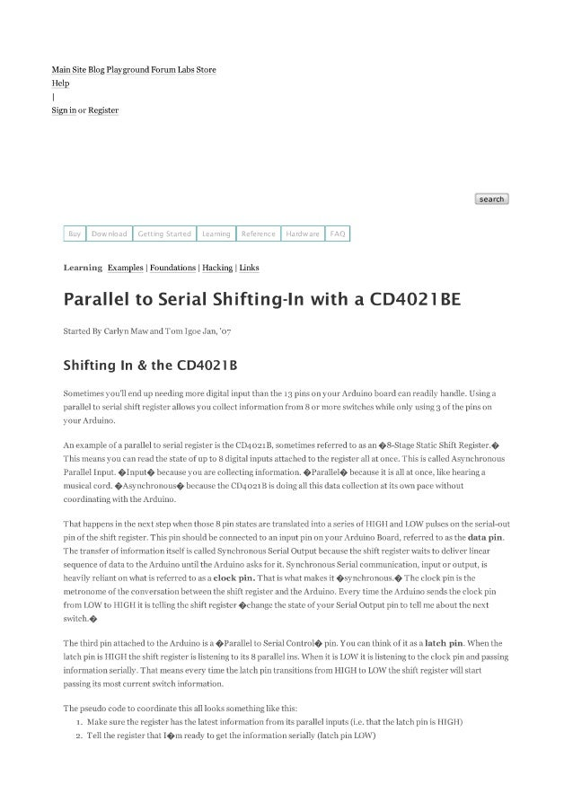Arduino   shift in