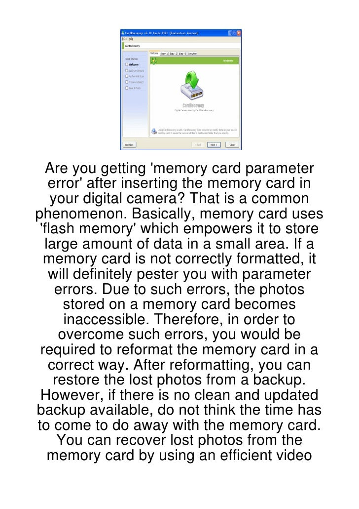 Are you getting memory card parameter   error after inserting the memory card in    your digital camera? That is a commonp...