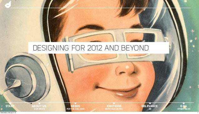 DESIGNING FOR 2012 AND BEYOND       START               ABOUT US         NEEDS            EMOTIONS           RELEVANCE    ...