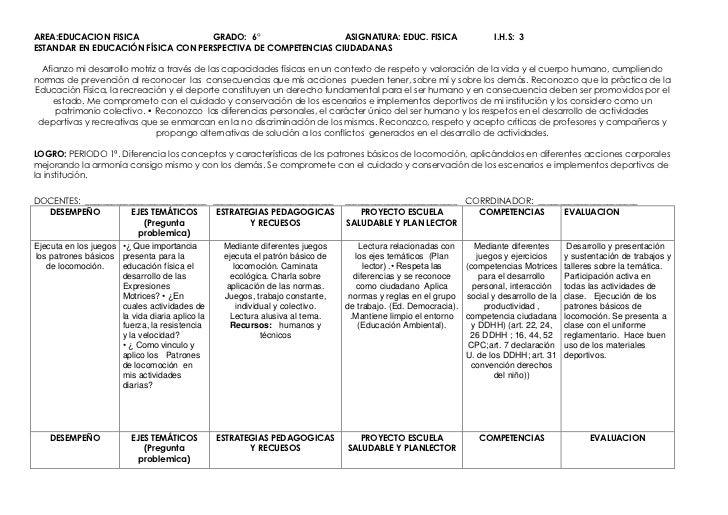 AREA:EDUCACION FISICAGRADO:  6°ASIGNATURA: EDUC. FISICA            I.H.S:  3ESTANDAR EN EDUCACIÓN FÍSICA CON PERSPECTIVA D...