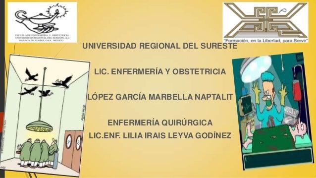 UNIVERSIDAD REGIONAL DEL SURESTE LIC. ENFERMERÍA Y OBSTETRICIA  LÓPEZ GARCÍA MARBELLA NAPTALIT ENFERMERÍA QUIRÚRGICA  LIC....