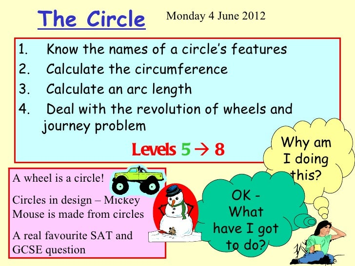The Circle          Monday 4 June 20121.     Know the names of a circle's features2.     Calculate the circumference3.    ...