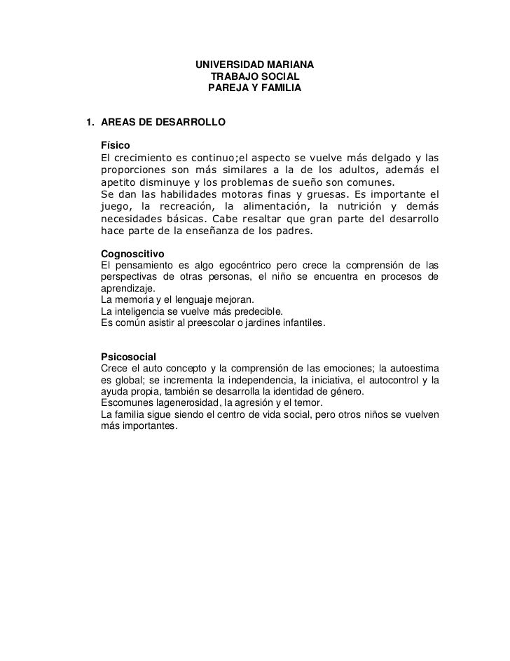 UNIVERSIDAD MARIANA                         TRABAJO SOCIAL                         PAREJA Y FAMILIA1. AREAS DE DESARROLLO ...