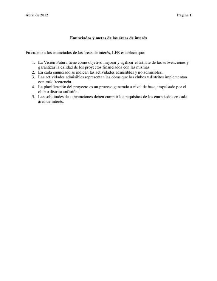 Seminario BiDistrital LFR - Enunciados y Metas de las Áreas de Interes