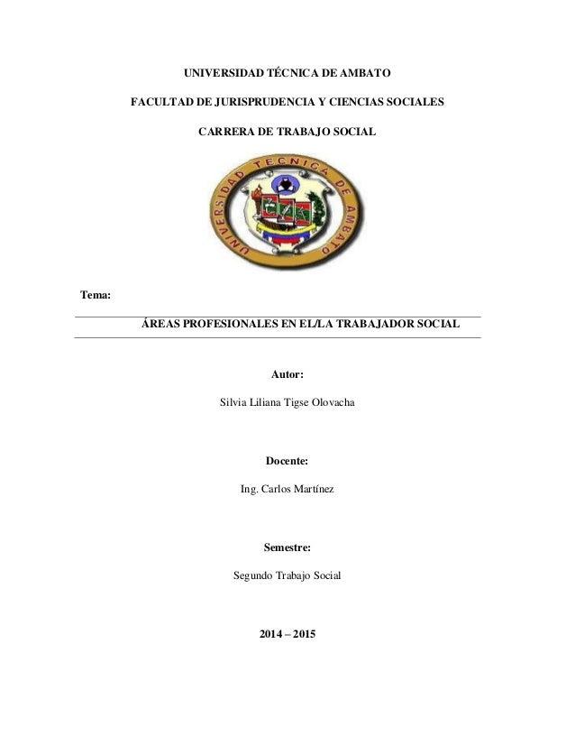 UNIVERSIDAD TÉCNICA DE AMBATO FACULTAD DE JURISPRUDENCIA Y CIENCIAS SOCIALES CARRERA DE TRABAJO SOCIAL Tema: ÁREAS PROFESI...