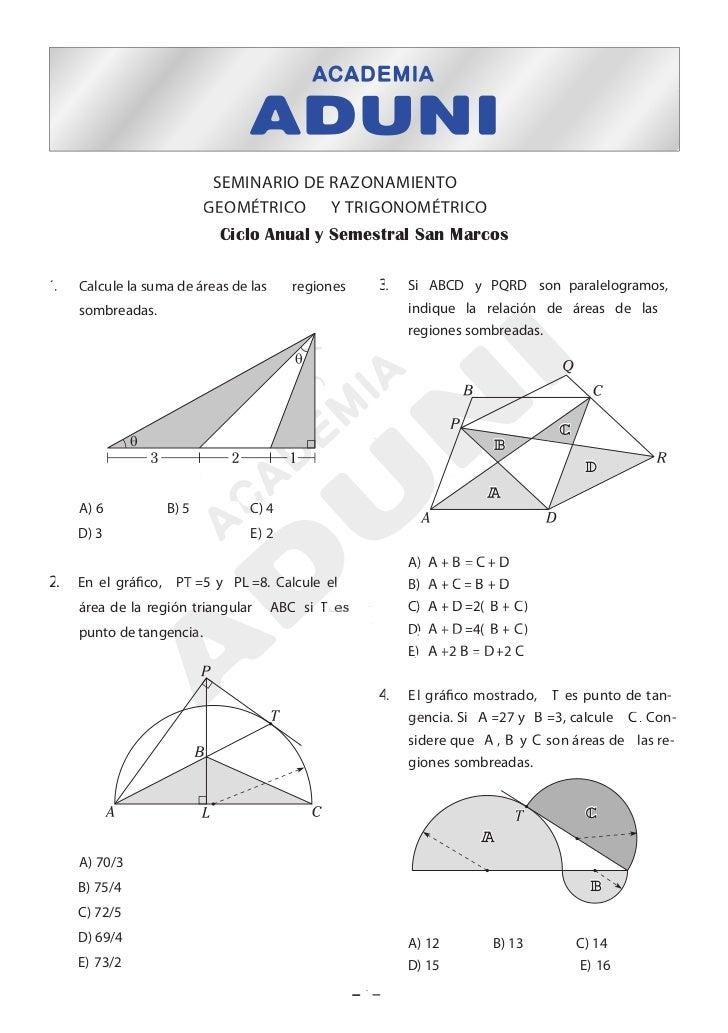 SEMINARIO DE RAZONAMIENTO                           GEOMÉTRICO Y TRIGONOMÉTRICO                            Ciclo Anual y S...