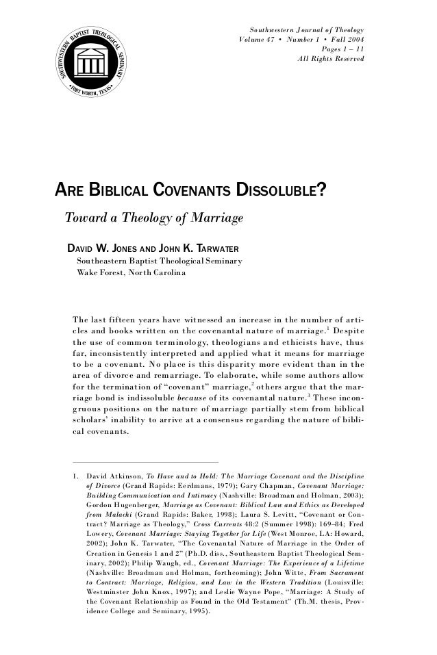 Are Biblical Covenants Dissoluble - Jones & Tarwater