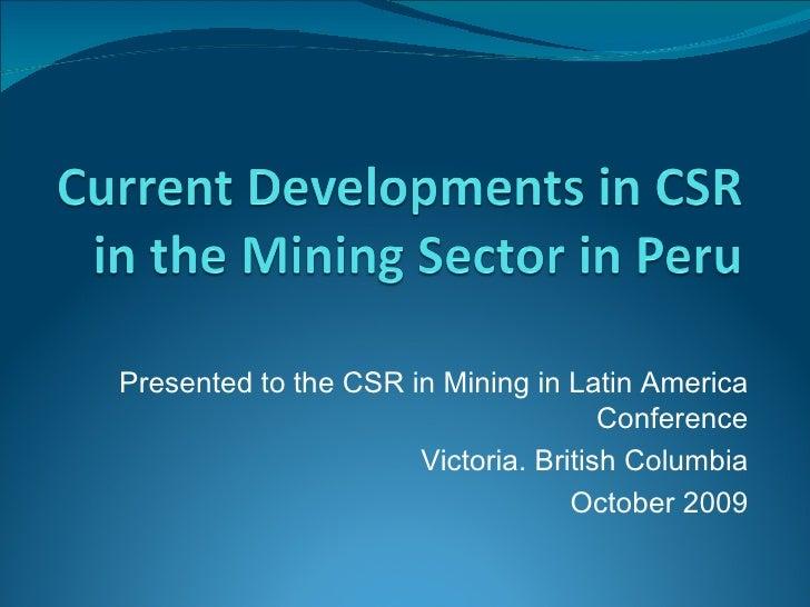 Current CSR developments in the mining sector in Peru