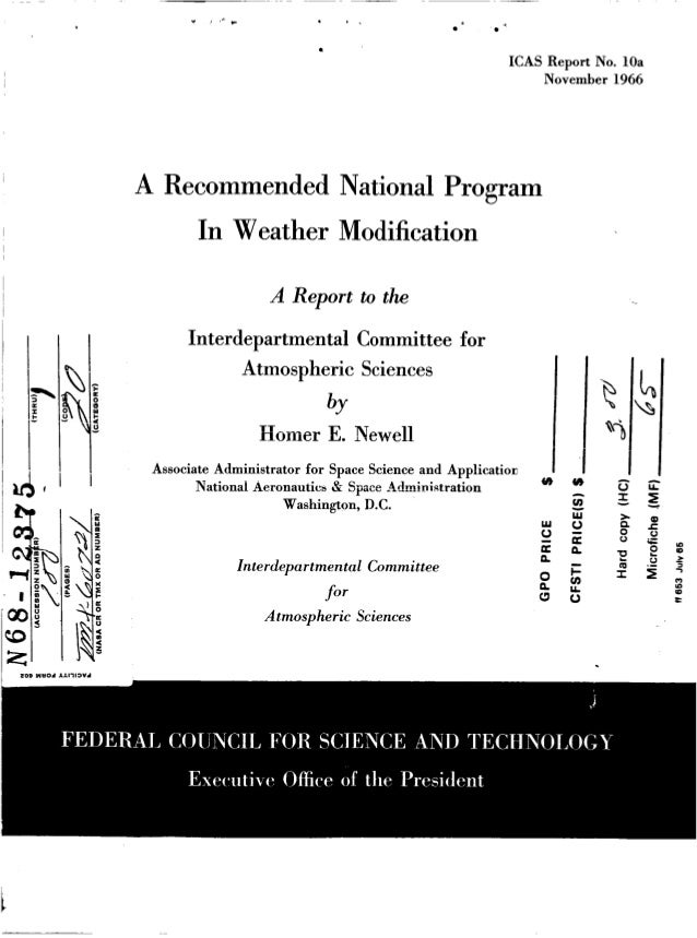 ICAS Report No. 10a November 1966  A Recommended National Program  In Weather Modification A Report to the Interdepartment...
