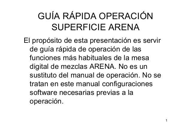 1 GUÍA RÁPIDA OPERACIÓN SUPERFICIE ARENA El propósito de esta presentación es servir de guía rápida de operación de las fu...