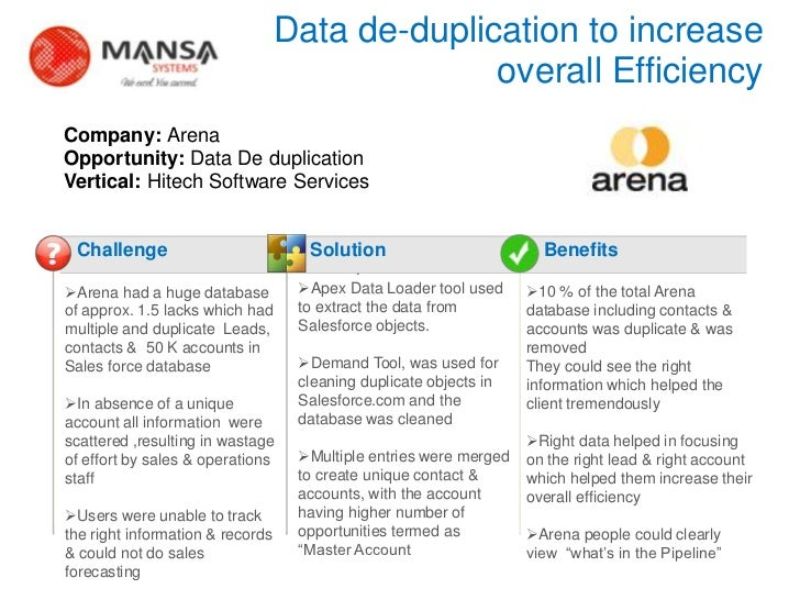 Data de-duplication to increase                                                    overall Efficiency    Company: Arena   ...