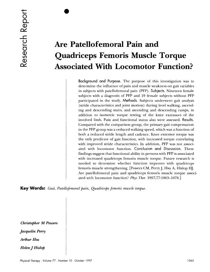 Are patellofemoral pain and qs muscle torque associated with locomotor function