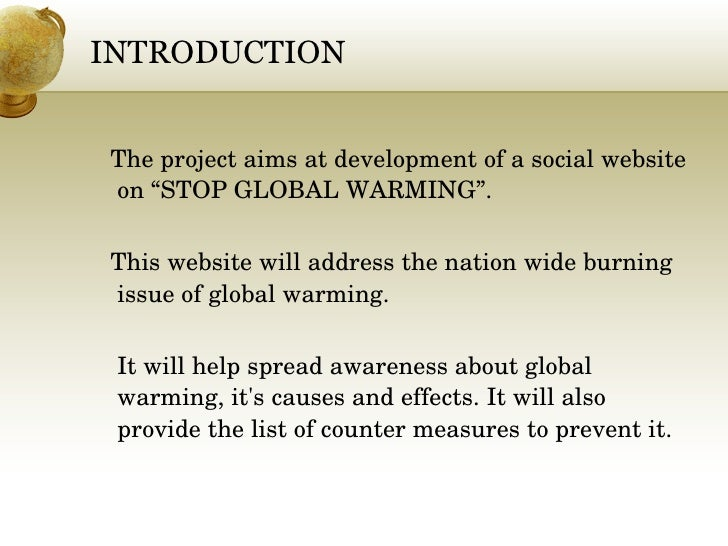 one page essay on global warming