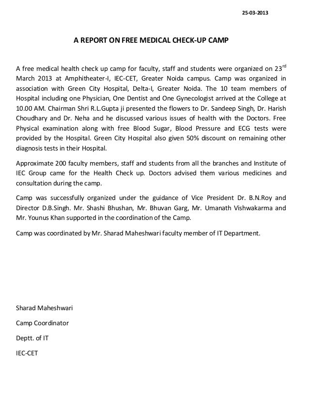 A Report of Free Medical Health Check Up Camp
