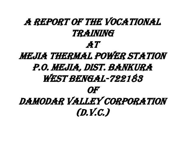 A REPORT OF THE VOCATIONAL TRAINING at MEJIA THERMAL POWER STATION P.O. MEJIA, DIST. BANKURA WEST BENGAL-722183 OF DAMODAR...