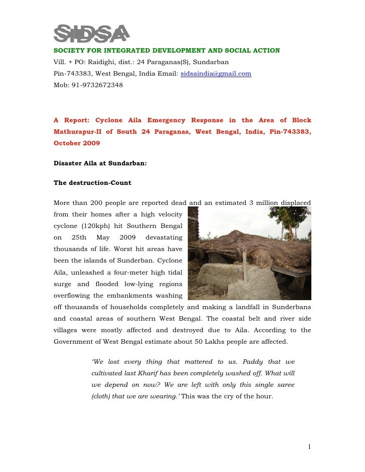 A Report On Cyclone Aila Response By Sidsa12