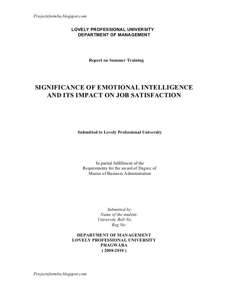 A report on significance of emotional intelligence and its impact on job satisfaction at liberty shoes ltd.,