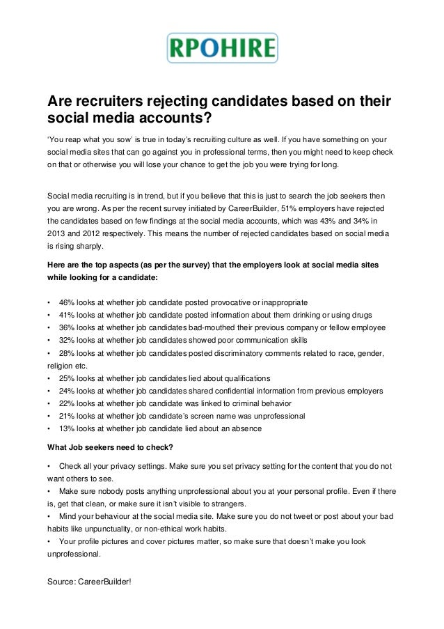 Are recruiters rejecting candidates based on their social media accounts? 'You reap what you sow' is true in today's recru...