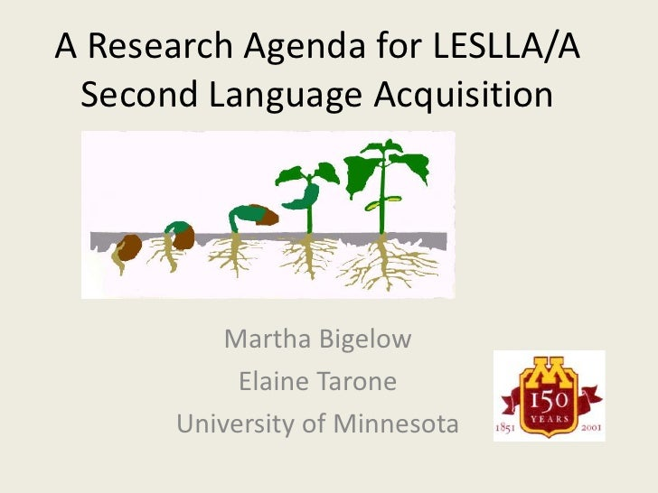 A Research Agenda for LESLLA/A Second Language Acquisition<br />Martha Bigelow<br />Elaine Tarone<br />University of Minne...