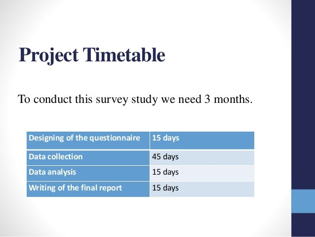 Timetable research proposal