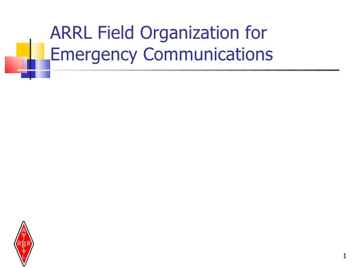 ARRL Field Organization for  Emergency Communications