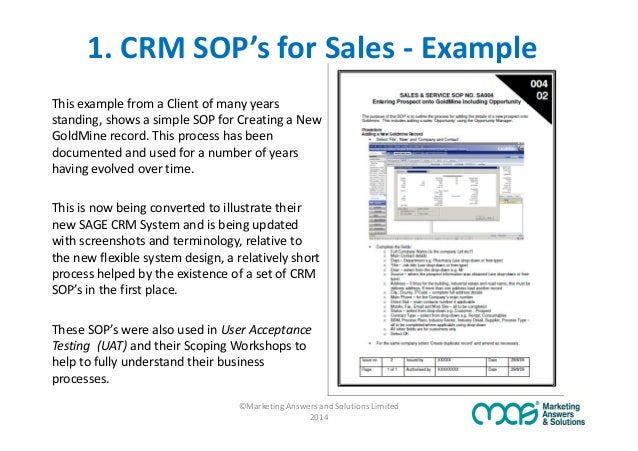 Are sop39s the secret to crm adoption success for Sales sop template