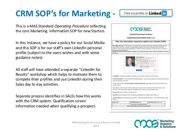 are sop39s the secret to crm adoption success With marketing sop template