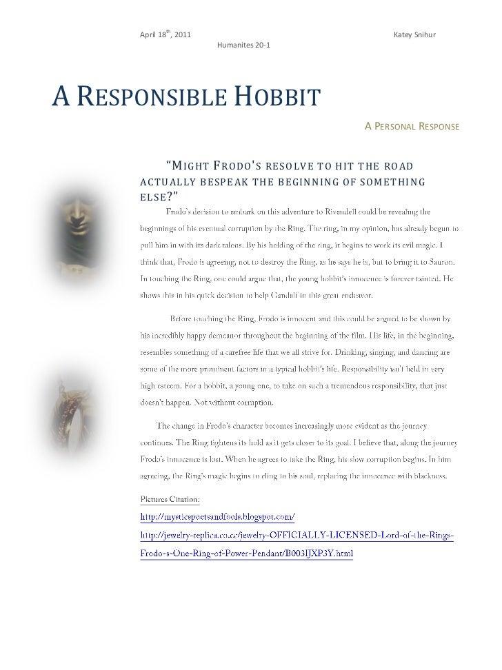 A Responsible Hobbit