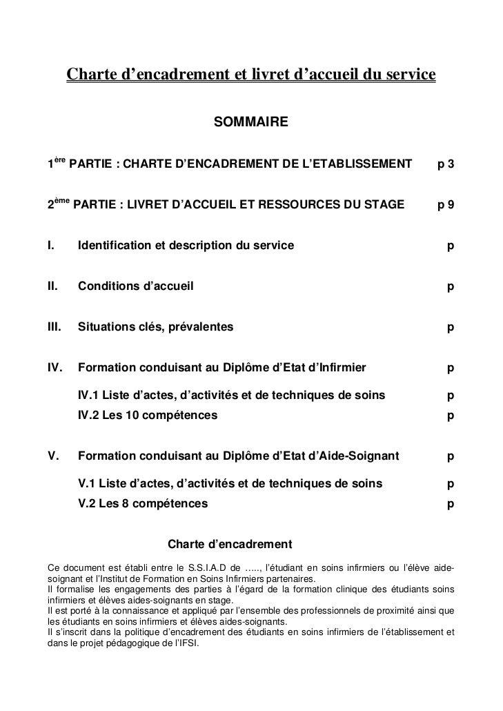 Charte d'encadrement et livret d'accueil du service                                        SOMMAIRE1ère PARTIE : CHARTE D'...
