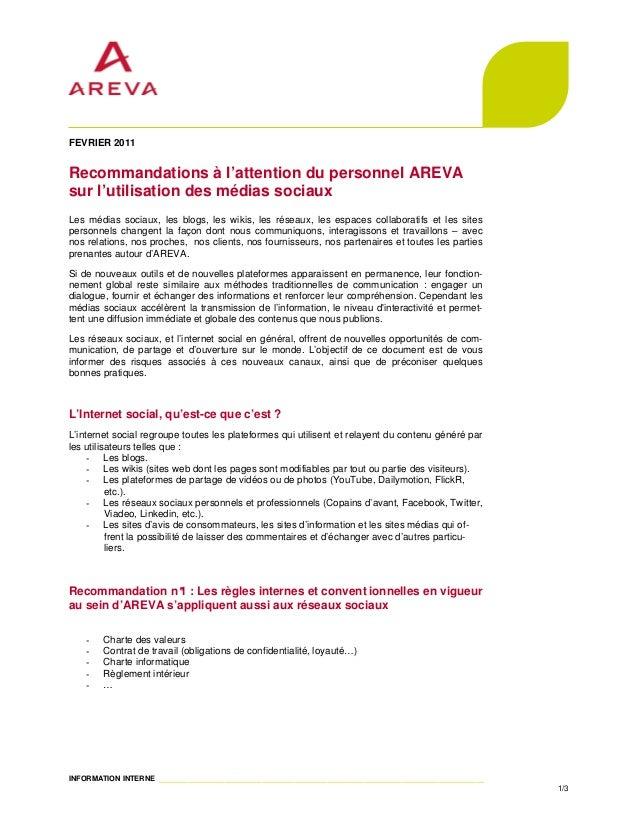FEVRIER 2011Recommandations à l'attention du personnel AREVAsur l'utilisation des médias sociauxLes médias sociaux, les bl...