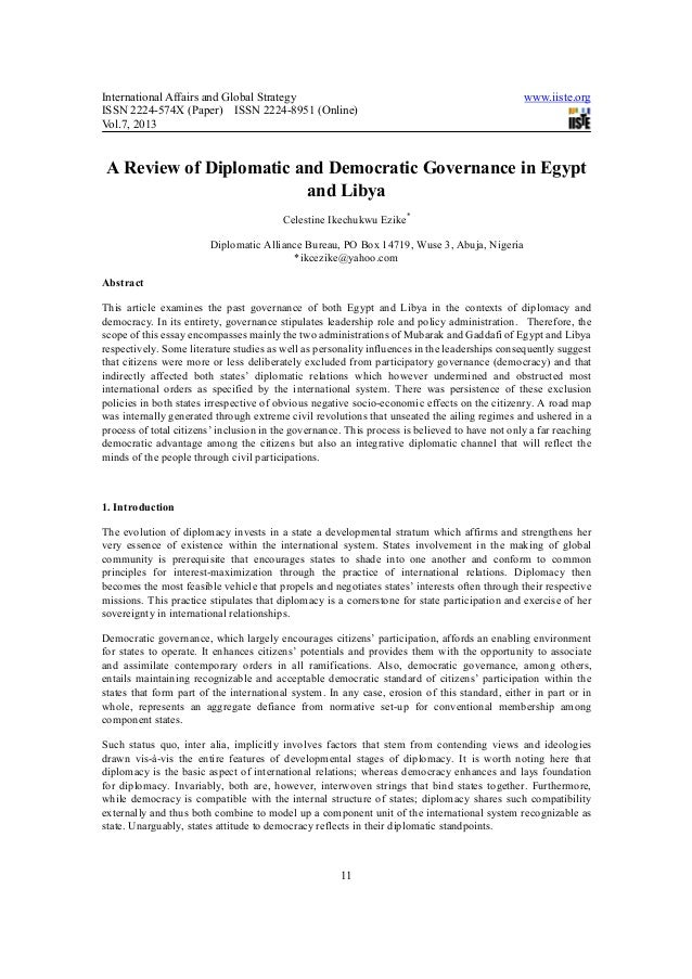 A review of diplomatic and democratic governance in egypt