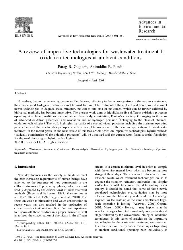 Advances in Environmental Research 8 (2004) 501–551   A review of imperative technologies for wastewater treatment I:     ...