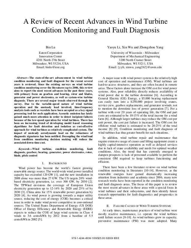 A Review of Recent Advances in Wind TurbineCondition Monitoring and Fault DiagnosisBin LuEaton CorporationInnovation Cente...