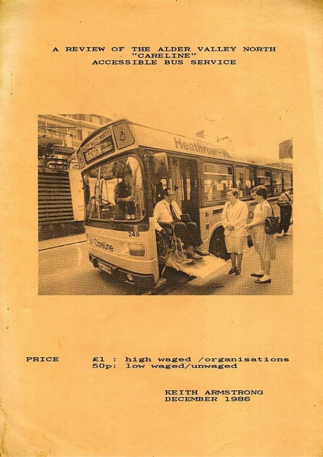 A review of the Alder Valley North 'Careline' accessible bus service 1986 by keith armstrong