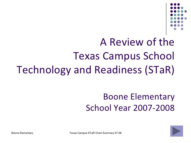 Boone Elementary<br />Texas Campus STaR Chart Summery 07-08<br />A Review of the Texas Campus School Technology and Readin...