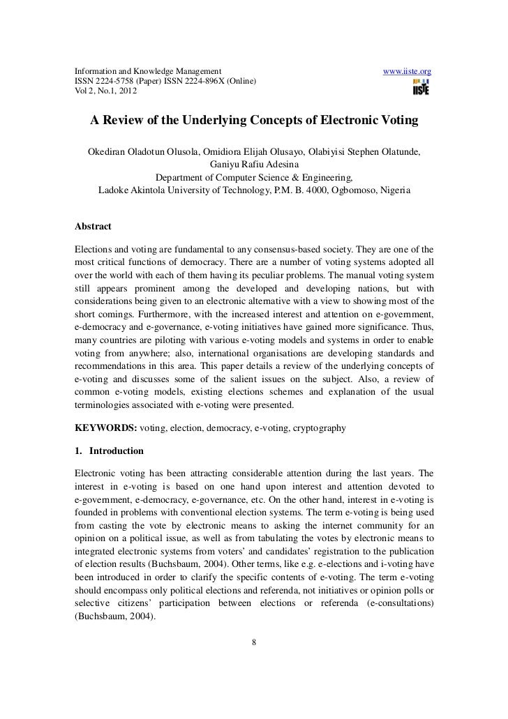 A review of the underlying concepts of electronic voting