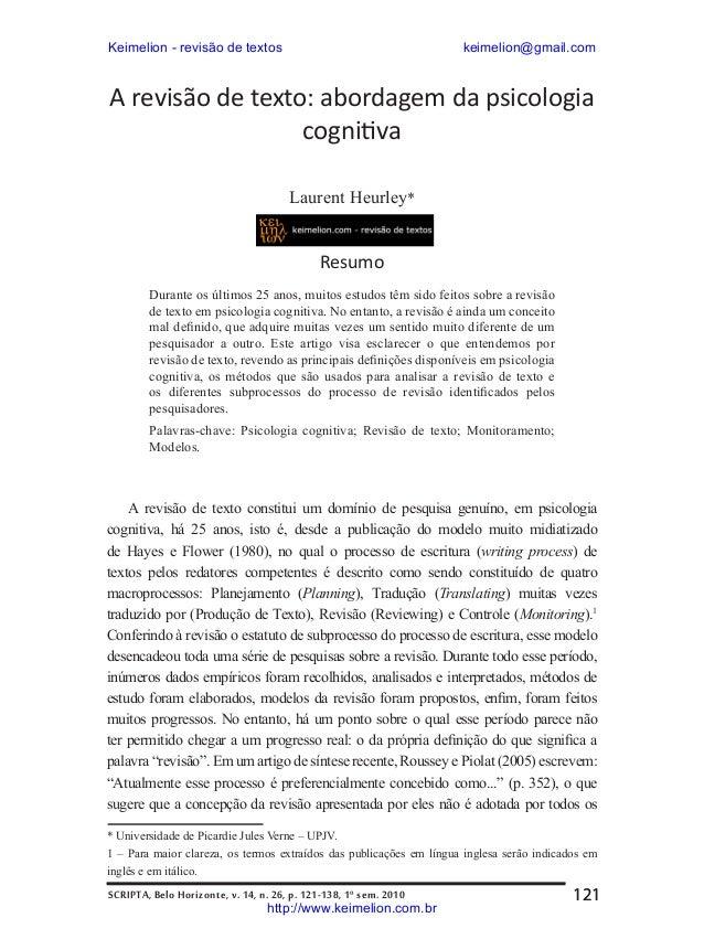A revisão de texto abordagem da psicologia cognitiva