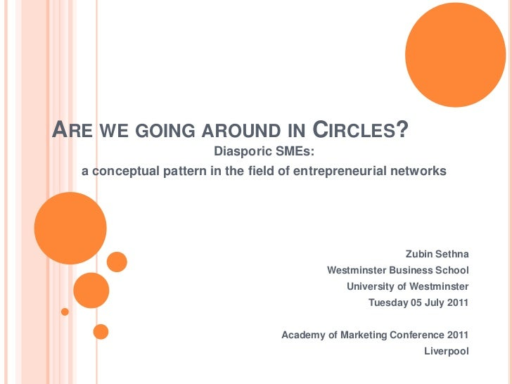 Are we going around in Circles?<br />Diasporic SMEs:<br />a conceptual pattern in the field of entrepreneurial networks<br...