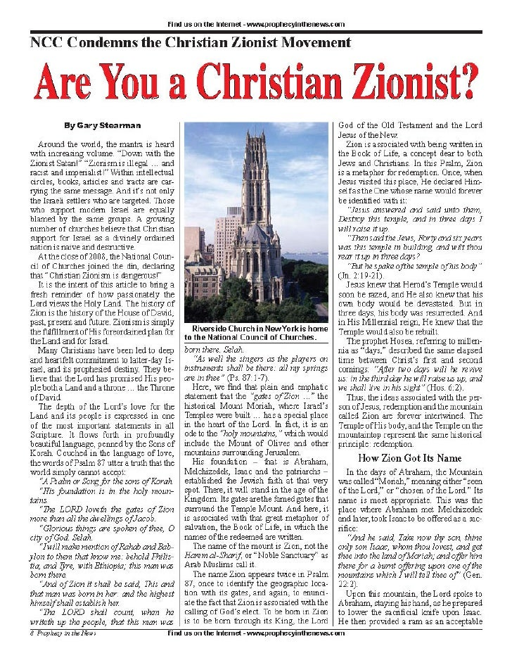 Are You A Christian Zionist?  -  Prophecy In The News Magazine -  May 2009