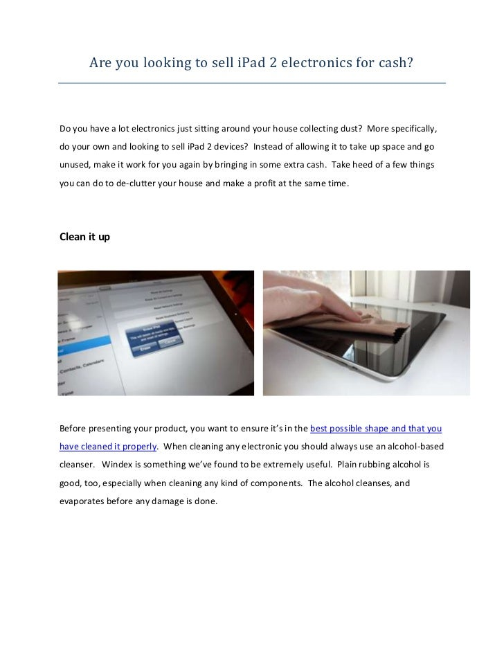 Are You Looking to Sell iPad 2 Electronics for Cash