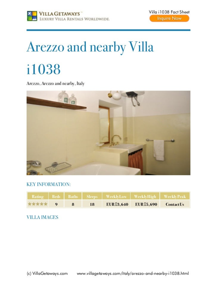 Villa i1038 Fact SheetArezzo and nearby Villai1038Arezzo, Arezzo and nearby, ItalyKEY INFORMATION:  Rating      Beds      ...