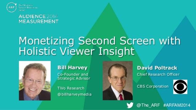 @The_ARF #ARFAM2014  @The_ARF #ARFAM2014  Monetizing Second Screen with Holistic Viewer Insight  Bill Harvey  Co-Founder a...