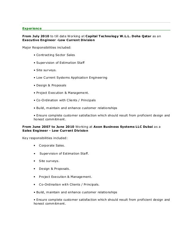 resume arfin alam engg low current system sales
