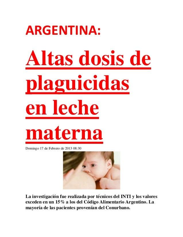ARGENTINA: Altas dosis de plaguicidas en leche materna