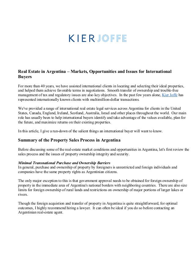 Argentina Real Estate Attorneys Lawyer KIER JOFFE Law Firm Buenos Aires