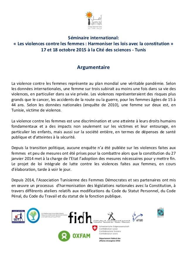 Séminaire international: « Les violences contre les femmes : Harmoniser les lois avec la constitution » 17 et 18 octobre 2...