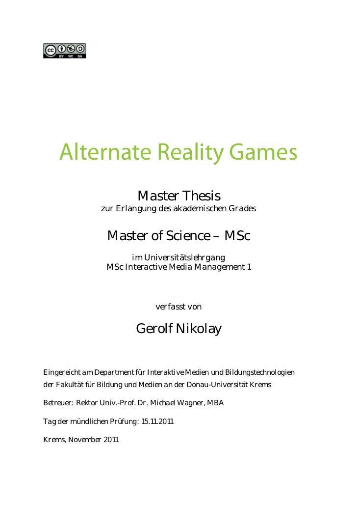 Alternate Reality Games                           Master Thesis                zur Erlangung des akademischen Grades      ...