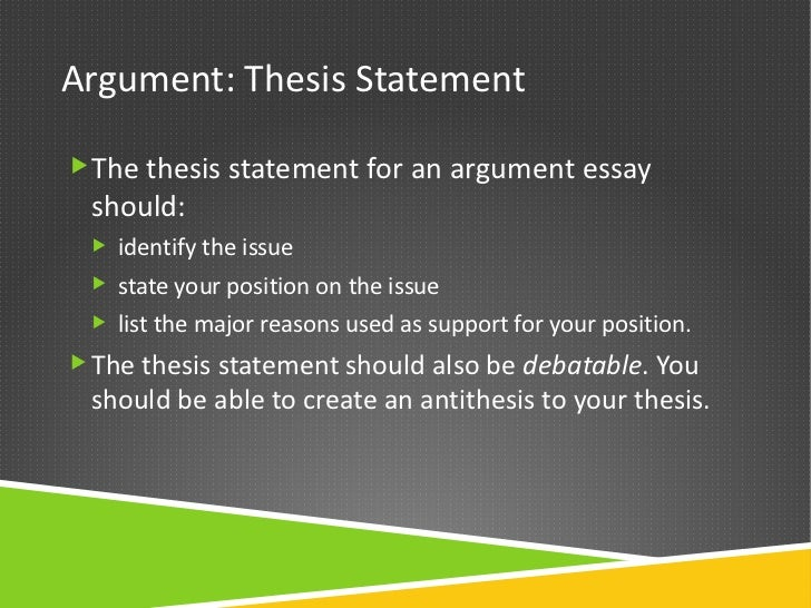 the thesis statement in an argument essay should How to Cite